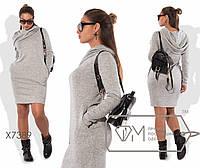 Прямое платье батал из ангоры с карманами и капюшоном 201389