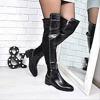 Сапоги женские ботфорты под Dior черные 3786, обувь днепр