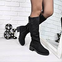 Сапоги женские Гермес черные ЗИМА 3787 , обувь днепр