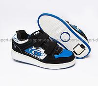 Кроссовки с роликом (heelys, хилисы) - BLACK Blue (на липучке)