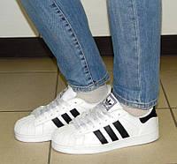 Кроссовки Adidas цвет-Белый с черными всавками материал-иск.кожа