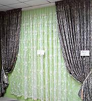 Готовые шторы с классическим рисунком (темно-кремовый)