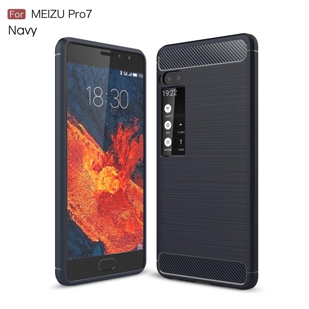 Чехол накладка для Meizu PRO 7 силиконовый, Carbon Fiber, темно-синий