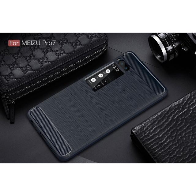 чехол carbon fiber Meizu PRO 7 темно-синий