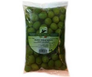 Оливки зелені в розсолі Olive verdi dolci Prima Voglia, пакет 500 гр.