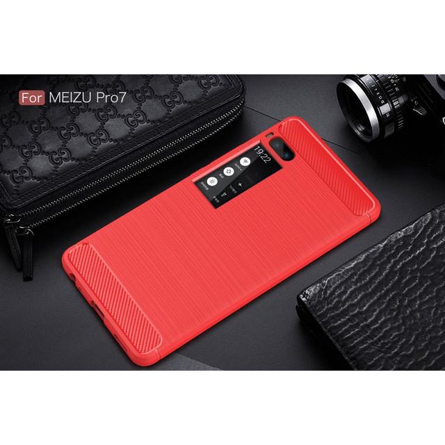 чехол carbon fiber Meizu PRO 7 красный