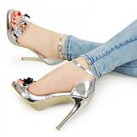 11-05 Серебристые женские туфли NLS-142571 36,40,38