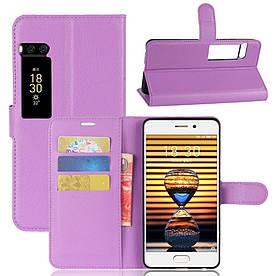 Чехол книжка для Meizu PRO 7 боковой с отсеком для визиток, фиолетовый