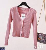 Трикотажный розовая кофточка на пуговичках.  Арт-12415
