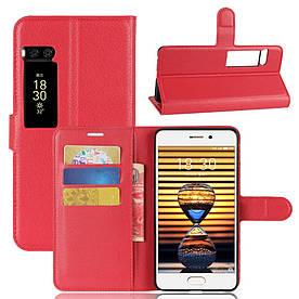 Чехол книжка для Meizu PRO 7 боковой с отсеком для визиток, красный