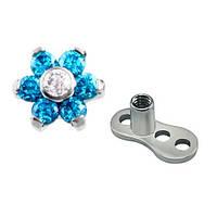 Микродермал титановый с якорем и накруткой цветок с голубыми фианитами