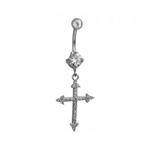 Серьга в пупок с крестом