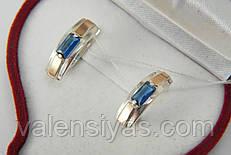 Серебряные женские серьги с альпинитами и золотыми вставками