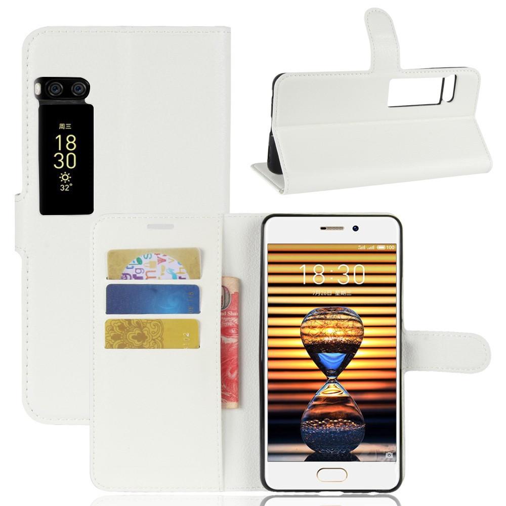 Чехол книжка для Meizu PRO 7 боковой с отсеком для визиток, белый