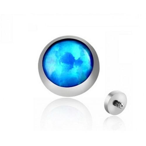 Накрутка на микродермал титановая с синим опалом