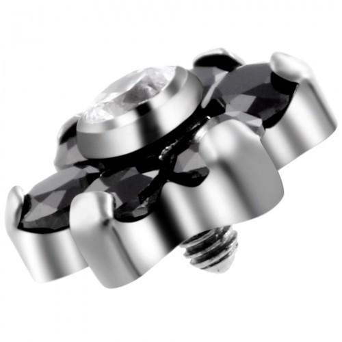 Накрутка на микродермал титановая цветочек черный оникс