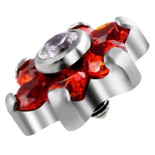 Накрутка на микродермал титановая цветочек рубин