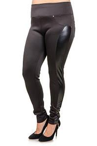 Женские леггинсы размер плюс с кожей 50-60 р Стиль, женские легинсы большого размера оптом от производителя