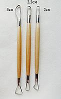 Инструменты стеки петли для лепки. Металл-дерево. 2-сторонний, 3шт.