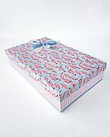 Прямоугольная большая подарочная коробка ручной работы бирюзово-розового цвета с фламинго