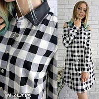 Женское модное платье -рубашка в клетку
