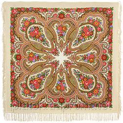 Любава 1289-1, павлопосадский платок шерстяной  с шерстяной бахромой