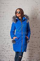 Молодежное пальто с мехом для женщин сезона зима 2017-2018 - (модель кт-93)