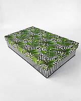 Прямоугольная большая интерьерная коробка ручной работы белого цвета в чёрный ромб и папоротник