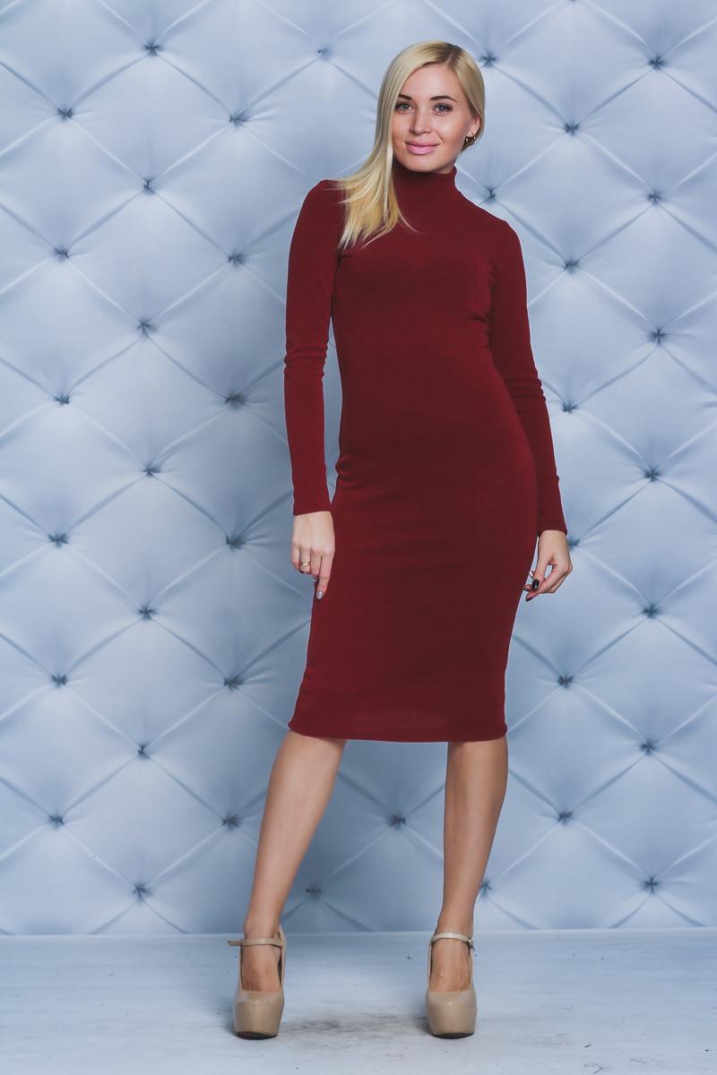 8e8977383aa Стильное платье футляр шерсть бордо - Интернет-магазин