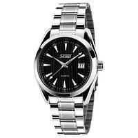 Мужские классические часы Skmei 9072 черный металл, фото 1