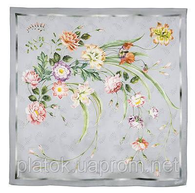 Лунный сад 10018-2, павлопосадский платок (атлас) шелковый с подрубкой