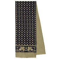 Севилья 1522-2, павлопосадский шарф (кашне) шерсть -шелк (атлас) двусторонний мужской с осыпкой