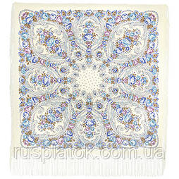 Мороз и солнце 1569-2, павлопосадский платок (шаль) из уплотненной шерсти с шелковой вязаной бахромой