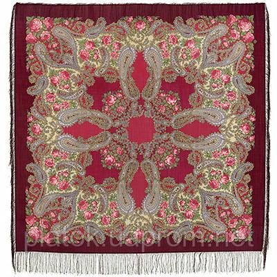 Час свидания 1570-7, павлопосадский платок шерстяной  с шелковой бахромой