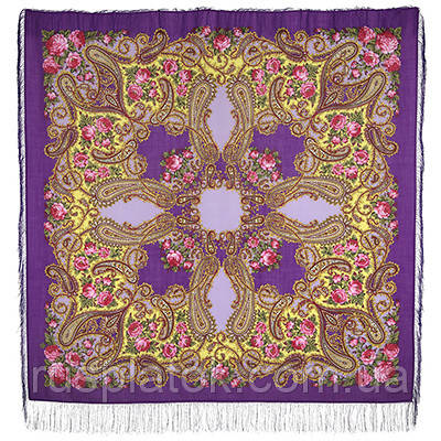 Час свидания 1570-15, павлопосадский платок шерстяной  с шелковой бахромой