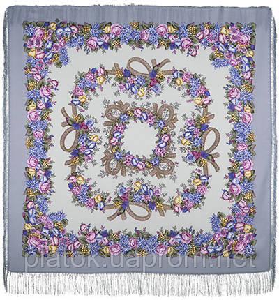 Рябиновые бусы 1193-2, павлопосадский платок шерстяной с шелковой бахромой