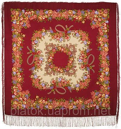 Рябиновые бусы 1193-5, павлопосадский платок шерстяной с шелковой бахромой