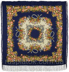 Рябиновые бусы 1193-14, павлопосадский платок шерстяной с шелковой бахромой