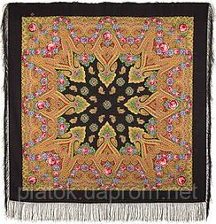 Мгновение 1106-18, павлопосадский платок шерстяной с шелковой бахромой