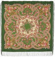 Сказочные мотивы 1580-9, павлопосадский платок шерстяной с шелковой бахромой