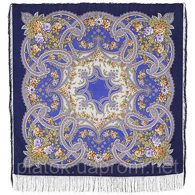 Сказочные мотивы 1580-14, павлопосадский платок шерстяной с шелковой бахромой