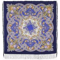 Сказочные мотивы 1580-14, павлопосадский платок шерстяной с шелковой бахромой, фото 1