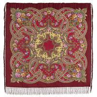 Сказочные мотивы 1580-6, павлопосадский платок шерстяной с шелковой бахромой