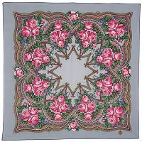 Цветочная корзиночка 1598-2, павлопосадский платок шерстяной  с осыпкой (оверлоком)