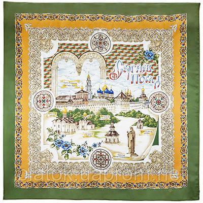 Троице-Сергиева Лавра 10024-9, павлопосадский платок (атлас) шелковый с подрубкой