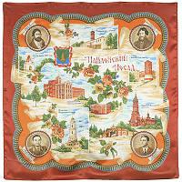 Павловский Посад 10025-5, павлопосадский платок (атлас) шелковый с подрубкой