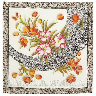Шелковое прикосновение 10010-2, павлопосадский платок (крепдешин) шелковый с подрубкой