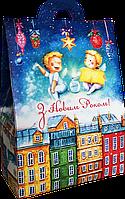 """Упаковка новоррічна """"Хатинка Янголята"""" для цукерок 400-500 г"""