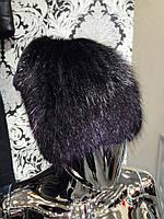 Шапка вязаная из ондатры, декорированная мехом кролика  053шп