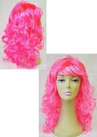 Парик карнавальный с челкой длинные локоны розовый  55см